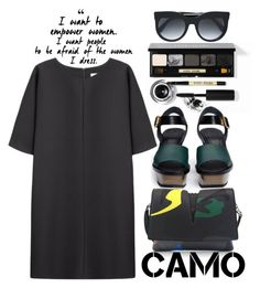 """""""Camo Power"""" by alialeola ❤ liked on Polyvore featuring Bobbi Brown Cosmetics, Marni, Non, Jil Sander, Alexander McQueen and camostyle"""