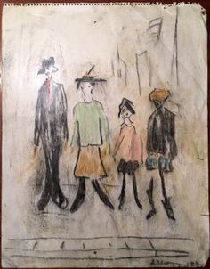 LS Lowry Pastel Crayon Line Drawing Hand Signed Vintage. http://eaglefineart.co.uk/product/ls-lowry-pastel-crayon-line-drawing-hand-signed-vintage/ #LSLowry #eaglefineart