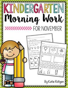 "Kindergarten Morning Work for November - Here you get 25 printable worksheet pages that are student friendly. Skills include letter recognition and sounds, tracing & writing, rhyming, first sound isolation, syllables, short vowels, CVC words, number recognition, number tracing and writing, 2D and 3D shapes, counting, ""how many?"", missing numbers, ten frames, comparing numbers, and more! Click through to see how these will benefit and engage your kinders!"