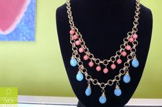 Coral and turquoise necklace. Rebeca Arias Accesorios