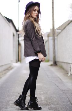 Hat, jacket, leggings, Dr Martens