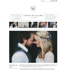 A little different from what I've seen before at the top of the web design. I love how simple and elegant this, but would prefer one large image on the home page.  Sarah Williams Photography Blog, site design by Amanda Jane Jones, development by Zoe Rooney || zoerooney.com