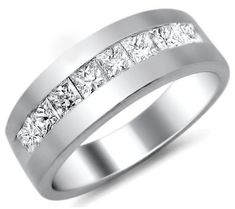 Mens 1 CT Princess Cut Diamond Wedding Band Ring Platinum with sealed and certified appraisal. Mens Wedding Rings Platinum, Mens Diamond Wedding Bands, Celtic Wedding Rings, Wedding Rings Vintage, Antique Engagement Rings, Wedding Ring Bands, Diamond Engagement Rings, Bridal Rings, Solitaire Ring