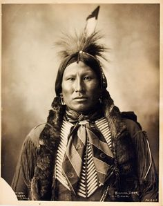 1899 photograph by Adolph Muhr of Running Deer, Kiowa, at Omaha, Nebraska, 1899. His braids are richly wrapped in otter fur while wearing a silk scarf and hairpipe breastplate.  *s*