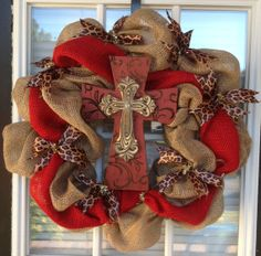 Burlap Cross wreath with animal print by Paisleyowlwreaths on Etsy, $65.00