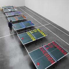 "Rirkrit Tiravanija - Ping-Pong Society - ""U.F.O. – NAUT JK"" ar Kurimanzutto, Mexico City (Reactivation of Julius Koller's work)"