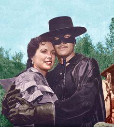 Zorro (Guy Williams) and Anna Maria (Jolene Brand).
