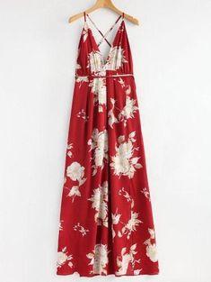 #Spring #AdoreWe #Zaful - #Zaful Flower Criss Cross Slit Maxi Dress - AdoreWe.com