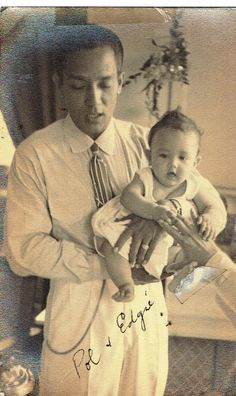 Leopoldo with infant son Edgar, who will become an actor in the future, as well. Filipino Fashion, Philippine Women, Pinoy, Manila, Old Photos, Old School, Philippines, Culture, Actors