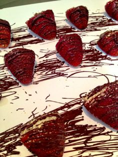 My precious. Dark chocolate cheesecake stuffed strawberries with graham cracker and chocolate drizzle.