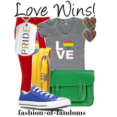 Love Wins! by fofandoms on Polyvore featuring Paige Denim, Converse, The Cambridge Satchel Company, West Coast Jewelry, Betsey Johnson and lovewins