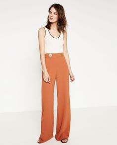 BUTTONED PALAZZO TROUSERS-View All-TROUSERS-WOMAN | ZARA United States