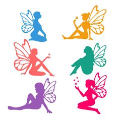 Sitting Fairies Cuttable Design Cut File. Vector, Clipart, Digital Scrapbooking Download, Available in JPEG, PDF, EPS, DXF and SVG. Works with Cricut, Design Space, Cuts A Lot, Make the Cut!, Inkscape