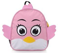 กระเป๋าเป้เด็กสีชมพูนก -