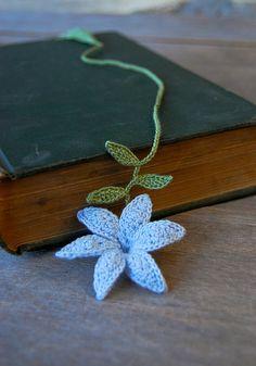 Crochet Flower Bookmark Handmade Blue Lily by joyoustreasures