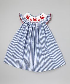 Look what I found on #zulily! Blue & White Crab Smocked Yoke Dress - Infant, Toddler & Girls #zulilyfinds