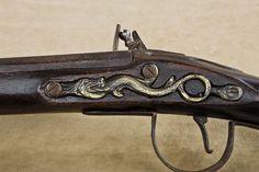 Early flintlock Indian trade gun with serpent brass side plate ...