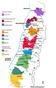 Mapa regiones vinicolas Chile