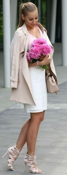 #spring #fashion #outfitideas |Nude Trench + White Lace Skirt |Style and Blog