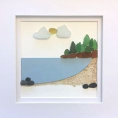 A little Nova Scotian beach scene that I made recently as a custom order. I left the blank space at the bottom for text. Made with mostly Nova Scotian seaglass and rocks, although the sand is from Bermuda (shhh!!!)
