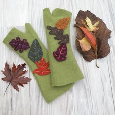 Olive Green Fingerless Gloves Felted Wool Upcycled by GypsyIntent