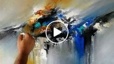 Demonstration of abstract painting in acrylics using palette knife and flat brush.
