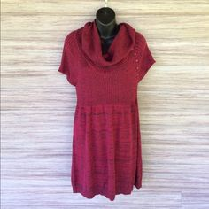 Maurices sweater dress Perfect condition!! Dark red and black. Has cute buttons on one sleeve. Maurices Dresses