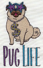Embroidery Designs at Urban Threads - Pug Life