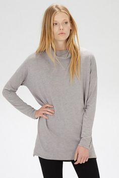Clothing | Grey RELAXED SIDE SPLIT POLO TUNIC | Warehouse