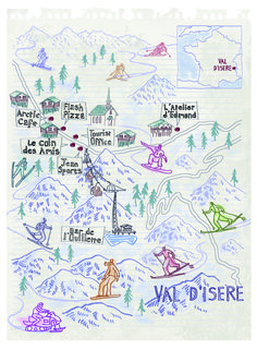 Val D'Isere map by Robert Littleford. March 2016 issue