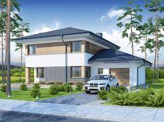Projekt domu piętrowego Telmun o pow. 167,08 m2 z garażem 1-st., z dachem kopertowym, z tarasem, sprawdź! Garage Doors, Outdoor Decor, Home Decor, Interior Design, Home Interior Design, Home Decoration, Decoration Home, Interior Decorating