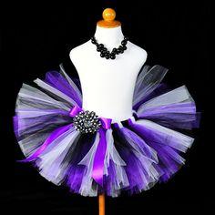 Purple Black White Birthday Tutu...Photo Prop, Halloween Costume, Dance Recital...10 Inch Length...Sizes 2T to 7/8 . . . PURPLE PIZZAZZ. $32.00, via Etsy.