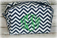Navy Chevron Monogrammed makeup bag by TheMonogramista on Etsy, $15.00