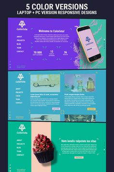 Colorista is a clean and simple, multi-purpose responsive website template with 5 vibrant color versions included, with each having a laptop and a Icon Design, Web Design, Small Business Resources, Colorista, Free Advertising, Responsive Web, Corporate Business, Psd Templates, Brochure Design
