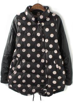 Black Polka Dot Pockets Cotton Blend Padded Coat
