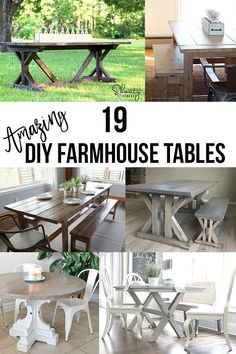 Easy and gorgeous DIY Farmhouse Table ideas. Build your own Farmhouse dining table with these plans and tutorials. : Easy and gorgeous DIY Farmhouse Table ideas. Build your own Farmhouse dining table with these plans and tutorials. Custom Woodworking, Woodworking Plans, Woodworking Classes, Woodworking Projects, Woodworking Mallet, Sketchup Woodworking, Woodworking Apron, Woodworking Machinery, Woodworking Workshop