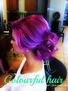 beautiful purple hair | I feel like this is probably photoshopped because Im like 99.9% sure Ive seen this same exact picture with a different hair color, but its still super pretty!!