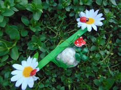 Daisy Seasaw,Miniature Playground,Fairy Furniture,Fairy Accessory,Fairy Swing,Fairy decoration,dollhouse,fairy accent,daisy,fairy ladybugs by TheTinyShinyCottage on Etsy