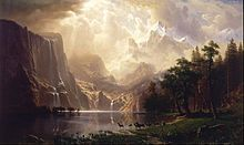 Among the Sierra Nevada Mountains, California (1868), by Albert Bierstadt - The Hudson River School was a mid-19th century American art movement embodied by a group of landscape painters whose aesthetic vision was influenced by romanticism. The paintings for which the movement is named depict the Hudson River Valley and the surrounding area, including the Catskill, Adirondack, and the White Mountains; eventually works by the second generation of artists associated with the school expanded to…