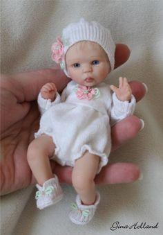 OOAK Hand Sculpted Baby Girl Art Doll Mini by Gina Holland | eBay