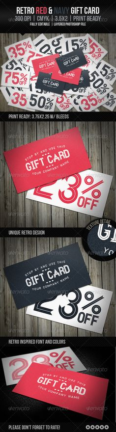 Retro Red & Navy Gift Card - GraphicRiver Item for Sale