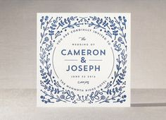 blue foliage invitation