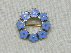 Tiny Danish Flower Circlet Brooch 1920s