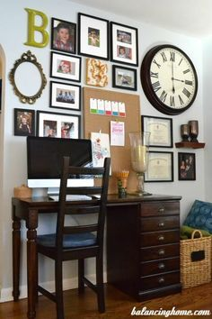 Image result for gallery wall with clock and bulletin board
