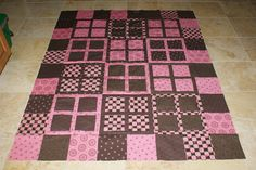pink and brown window pane quilt top