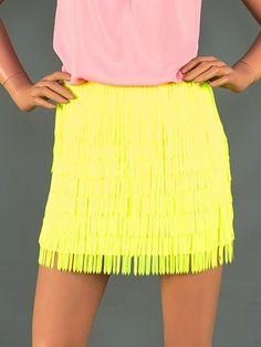 Neon fringe mini skirt $39 www.royceclothing.com