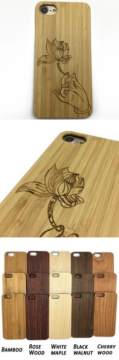 #Lotus #Flower #iPhone 7 Samsung S #Case. Eco-Friendly #Bamboo #Wood #Cover