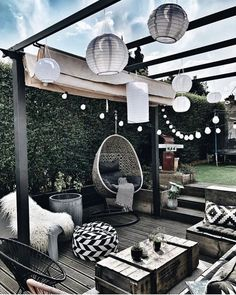 gardens lounge Add ambiance and character to a store bought pergola in your backyard by adding . Add ambiance and character to a store bought pergola in your backyard by adding string lighting, lanterns, and layers of boho black and white accessories!