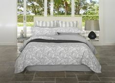 """Searching for Doona Covers in Australia The Duvet is also referred to as a """"Doona"""". You can protect it or cover it with Doona covers. If you are looking for at reliable cost then, contact with The Bedspread Shop. White Sea, Grey And White, Linen Bedding, Bedding Sets, Home Decor Online, Quilt Cover Sets, Stripes Design, Bed Spreads, Duvet Covers"""