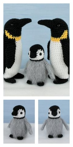 Crochet Amigurumi Free Patterns, Christmas Crochet Patterns, Crochet Animal Patterns, Stuffed Animal Patterns, Crochet Dolls, Crochet Penguin, Cute Penguins, Cute Crochet, Amigurumi Doll